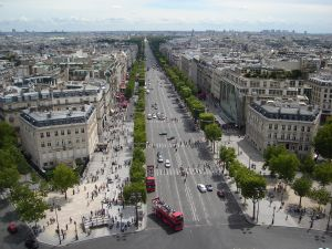 The Champs Elysees, where many of Paris' fine restaurants are found