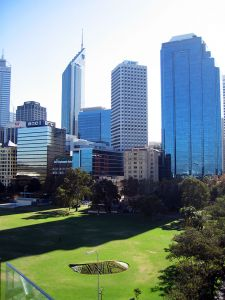 A view of central Perth from the Bell Tower