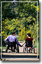 Wheelchair travelers in the park holding hands